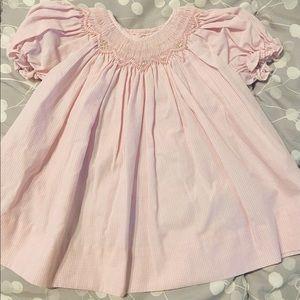 Newborn petit ami smocked smock dress nb pink
